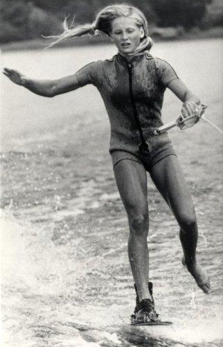 Nederlandse Willy Stähle is wereldkampioene Waterski. Op de foto: Willy in actie…