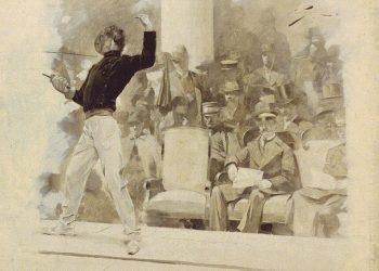 koning George 1 van Griekenland bij het schermen in 1896